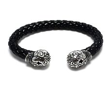 Mens White Stainless Steel Bracelet Skull Head Open Leather Bangle Jewelry