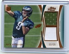 2012 TOPPS PRIME #DR-NF NICK FOLES DUAL JERSEY ROOKIE CARD RC SP #11/25, EAGLES