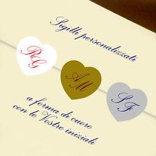 100 SIGILLI partecipazioni nozze BUSTE con INIZIALI!! SPEDIZIONE GRATIS!!! CUORE