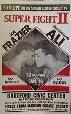 "Joe Frazier Muhammad Ali Super Fight II Poster 1974 Big Screen TV Promo 14""x22"""