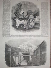 Sketches in India Brahmin students and Trichinopoly Rock 1858 old prints