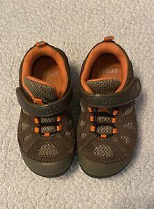 Children's Crocs, Size 10, Brown With Orange Trim, Gently Used