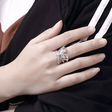 Wholesale Stylish Women 925 Silver Plated Butterfly Plain Band Ring Jewelry Gift