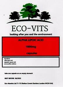 ALPHA LIPOIC ACID 1000mg 120 caps anti-oxidant Increases glucose uptake