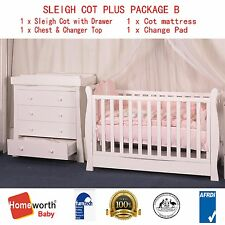 New 3 IN 1 Sleigh Cot with Drawer Organic Mattress & chest & Changer Top PACKAGE