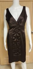 Calvin Klein Brown Sleeveless Satin Dress V Neck Ruched Cocktail Party Size 6