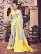 Bollywood Saree & Blouse Indian Sari Wedding Gray Woven Banarasi Art -S2069