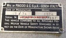 VESPA Chassis Plate FRAME NUMBER VBA GS VNA VBB SUPER SPRINT 1959-1970 ALL STATE