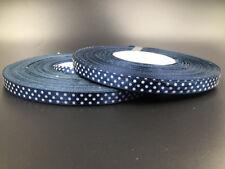 "10Yards 3/8"" 10mm  Polka Dot Ribbon Satin Craft Supplies crafts Navy blue color"