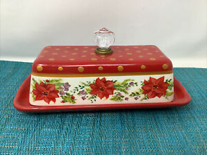 Pioneer Woman Holiday Cheer BUTTER Dish RARE Poinsettia RED- Mint Tc2