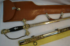 ANTIQUE US NAMED SWORD OLD ETCHED BLADE KNIGHTS TEMPLAR MASONIC CARRY CASE