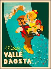 Valle D'Aosta Aosta Valley Italy Vintage Travel Advertisement Poster Print