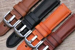 Watch Strap Genuine Smooth Calf Leather Padded Semi-Remborded 20mm-24mm