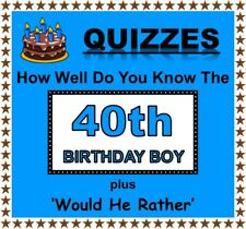 Fun Party Games 'How Well Do You Know 40th Birthday Boy' + 'Would He Rather'