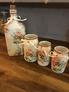 Beautiful Decoupage Bottle Light N Jar Set /shabbychic/unique /handmade Set