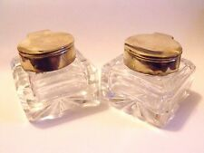 PAIR GOOD QUALITY HEAVY BRASS CUT GLASS INKWELL INK BOTTLES