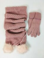 Girls Pink Grey or Ivory Winter Warm Woolly Scarf and Glove Matching Set