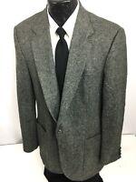 Haggar Men's Gray Black TWEED Sport Coat SPORTSMANS Jacket Wool Blazer 40 L Long