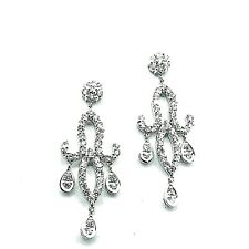 New 18 Kt White Gold and Diamond Chandelier Earrings 1.20 tcw.