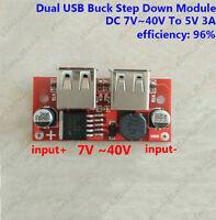 DC-DC Voltage Converter 7~40V 12V 24v to 5V 3A Step Down Dual USB Charger Module