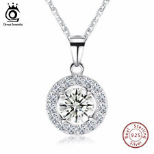 Orsajewels Women Crystal CZ Pendant 925 Sterling Silver Wedding Necklace Chain