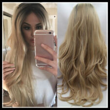 Ladies Blonde Ombre Hair Full Wig Cosplay Black Root Long Curly Wigs VOGUE