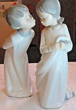"LLADRO ICONIC PORCELAIN (2) YOUNGSTERS GOOD NIGHT KISS, 9 1/2"", MADE IN SPAIN.."