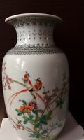 Large Chinese Republic VASE Birds, Floral & Calligraphy