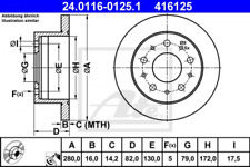 2x Bremsscheibe für Bremsanlage Hinterachse ATE 24.0116-0125.1