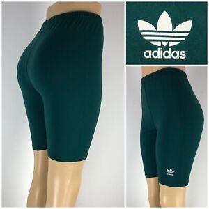 Adidas Originals Womens Medium Large Shorts Green Vintage 90s High Waisted Nylon