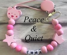 Personalised Dummy Clip💗Wooden🎀girl💗Dummy Chain🎀Pink💗star🎀crown💗teddy🎀