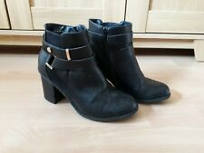 Ladies George Black Ankle Boots Size 4