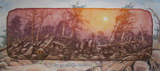 "Roy Purcell ""Six Coyotes among the Fox tails"" Mixed Media Exquisite Rare Work"