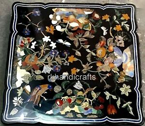 Black Marble Inlay Table Top with Handmade Crafts Coffee Table 24 x 24 Inches