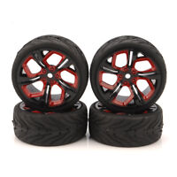 4Pcs 12mm Hex Rubber Flat Tire Wheel Rims For HSP HPI 1/10 On-Road RC Racing Car