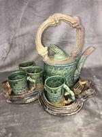 Vintage Studio Art Pottery Stoneware Tea Pot 4 Mugs & Tray Artist Signed Wow!