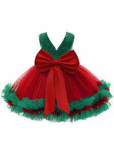 Kids Girls Princess Tutu Dress Shiny Sequins Christmas Costume Bowknot Dress