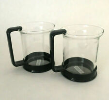 Bodum Glass Coffee Tea Cups Mugs Black Plastic Glass Set of 2 Made in Denmark