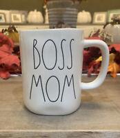 Rae Dunn - BOSS MOM - LL White Ceramic Coffee Mug - NWT 2020