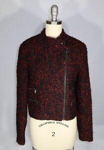 BANANA REBUBLIC Size M Red Black Boucle Wool Blend Asymmetric Zip Moto Jacket