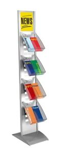 Prospektständer Tec-Art drehbar Alusilber 300x1660x400mm Prospekthalter