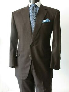 Exceptional!  Hand Made Suit Brown 180s Wool 42S Working Sleeve Cuffs Brioni Tie