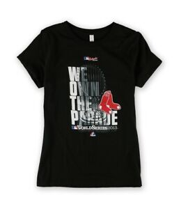 Majestic Boys Red Sox WS Champ Parade Graphic T-Shirt, Black, M (10-12)