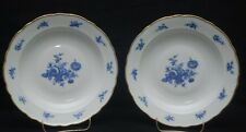 "Schaller MEISSEN BOUQUET 7-3/4"" Shallow Rimmed Soup Bowls  Blue & White Flowers"