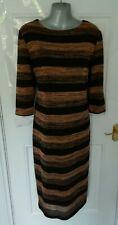 ❤ M&S Size 16 Black Brown Shimmer Striped Design Stretchy Jumper Midi Dress