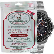 *NEW* CAPE COD METAL POLISHING CLOTH FOR CITIZEN ECO DRIVE WATCH - PACK OF 2