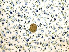 FLORAL POLYCOTTON FABRIC ROSE GARDEN - WHITE BACKGROUND - NAVY & SKY BLUE PETALS