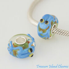 FROG BLUE LAMPWORK MURANO GLASS .925 Sterling Silver EUROPEAN EURO Bead Charm