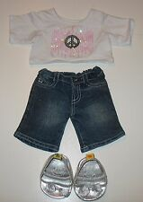 3 Pc. Build a Bear Limited Too for B.A.B.W - Peace Sign Top/Jeans & Silver Shoes