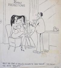 Dessin original cartoon humour érotique daté 1977 Playboy Adam Signé LUTNER